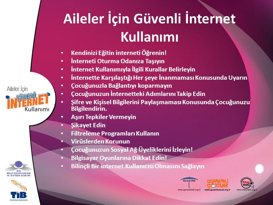 Aileler İçin Güvenli İnternet Kullanımı Kendinizi Eğitin interneti Öğrenin! İnterneti Oturma Odanıza Taşıyın İnternet Kullanımıyla İlgili Kurallar Bel