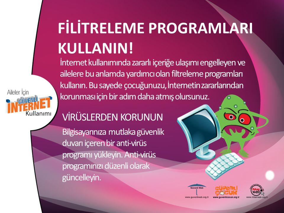 FİLİTRELEME PROGRAMLARI KULLANIN! İnternet kullanımında zararlı içeriğe ulaşımı engelleyen ve ailelere bu anlamda yardımcı olan filtreleme programları