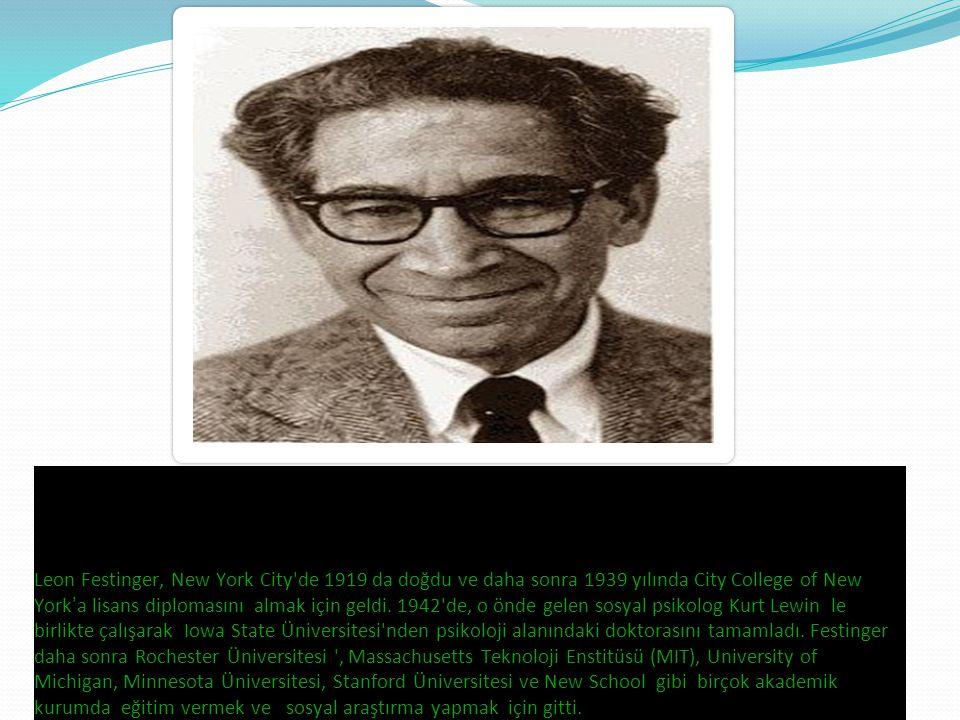 Leon Festinger, New York City de 1919 da doğdu ve daha sonra 1939 yılında City College of New York ' a lisans diplomasını almak için geldi.