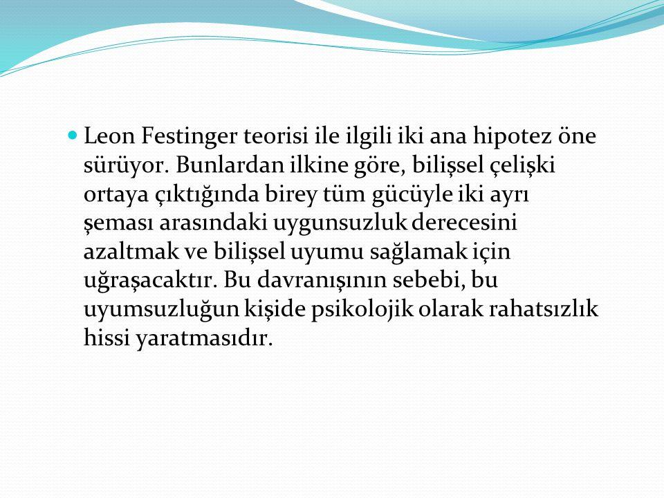 Leon Festinger teorisi ile ilgili iki ana hipotez öne sürüyor.