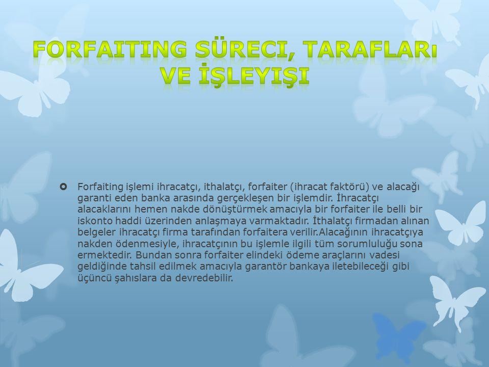  Forfaiting işlemi ihracatçı, ithalatçı, forfaiter (ihracat faktörü) ve alacağı garanti eden banka arasında gerçekleşen bir işlemdir.