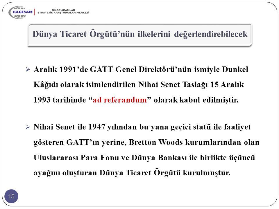 """15  Aralık 1991'de GATT Genel Direktörü'nün ismiyle Dunkel Kâğıdı olarak isimlendirilen Nihai Senet Taslağı 15 Aralık 1993 tarihinde """"ad referandum"""""""