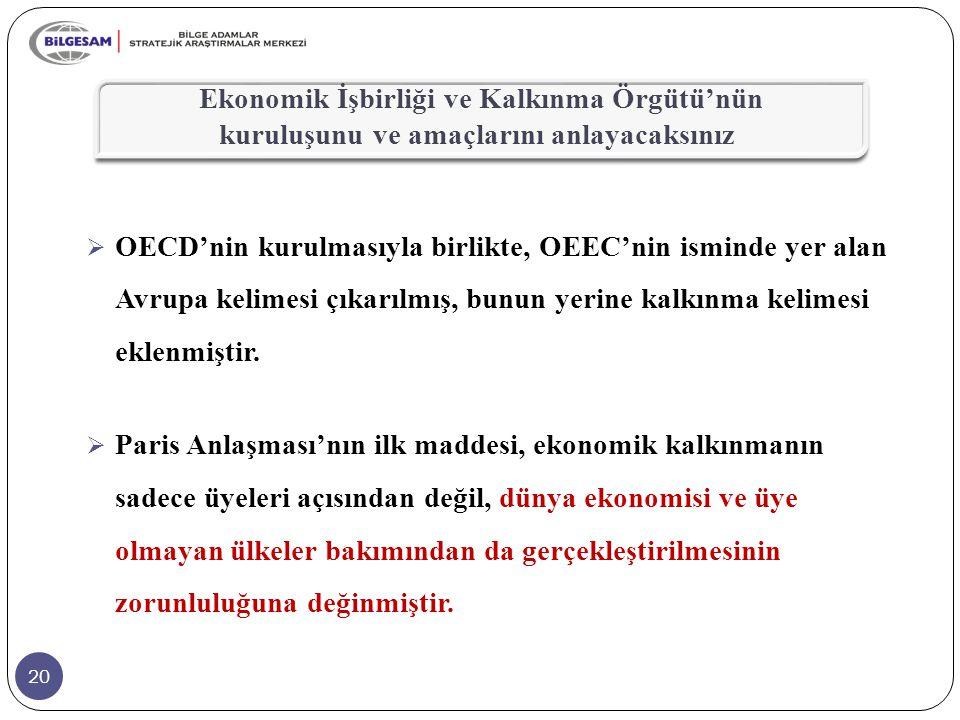 20  OECD'nin kurulmasıyla birlikte, OEEC'nin isminde yer alan Avrupa kelimesi çıkarılmış, bunun yerine kalkınma kelimesi eklenmiştir.  Paris Anlaşma