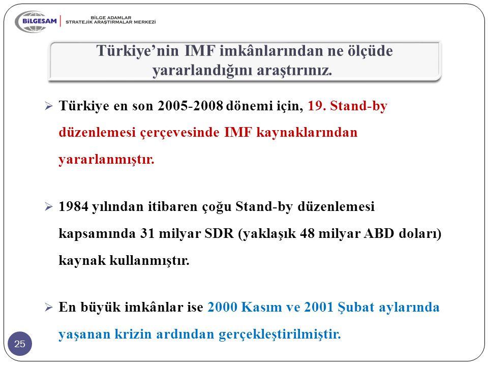 25  Türkiye en son 2005-2008 dönemi için, 19. Stand-by düzenlemesi çerçevesinde IMF kaynaklarından yararlanmıştır.  1984 yılından itibaren çoğu Stan