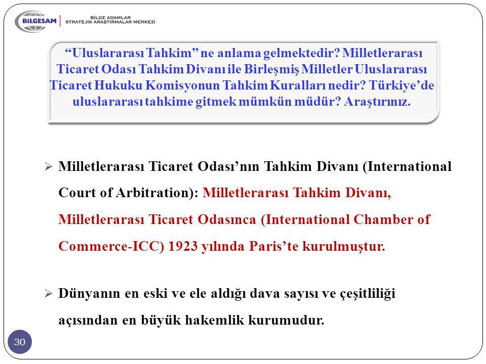 30  Milletlerarası Ticaret Odası'nın Tahkim Divanı (International Court of Arbitration): Milletlerarası Tahkim Divanı, Milletlerarası Ticaret Odasınc