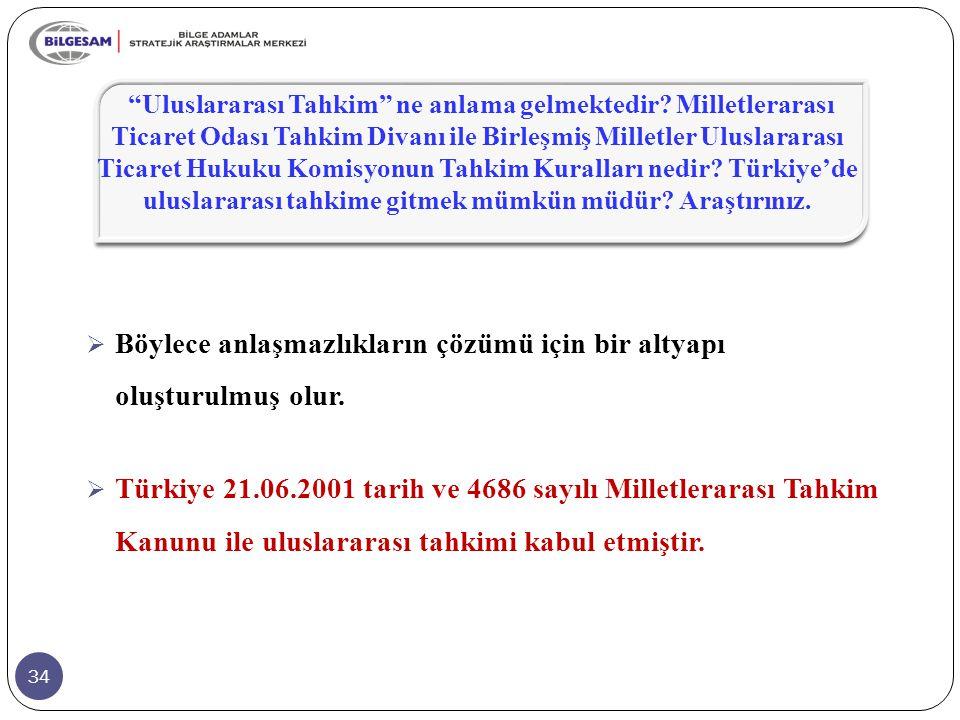 34  Böylece anlaşmazlıkların çözümü için bir altyapı oluşturulmuş olur.  Türkiye 21.06.2001 tarih ve 4686 sayılı Milletlerarası Tahkim Kanunu ile ul