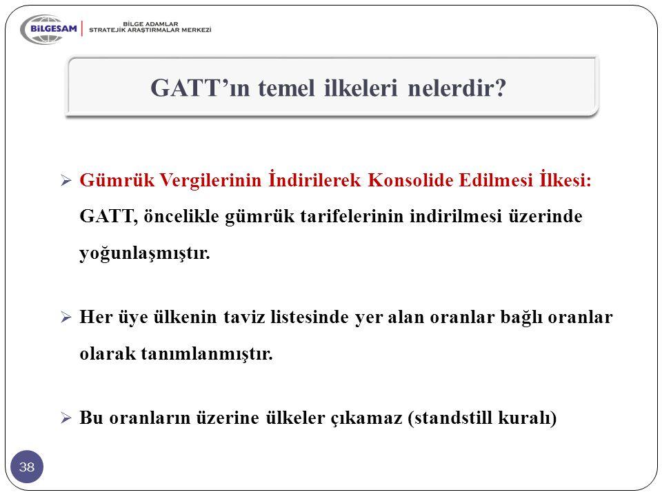 38  Gümrük Vergilerinin İndirilerek Konsolide Edilmesi İlkesi: GATT, öncelikle gümrük tarifelerinin indirilmesi üzerinde yoğunlaşmıştır.  Her üye ül