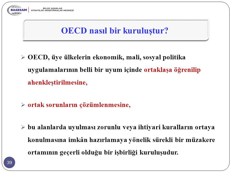 39  OECD, üye ülkelerin ekonomik, mali, sosyal politika uygulamalarının belli bir uyum içinde ortaklaşa öğrenilip ahenkleştirilmesine,  ortak sorunl