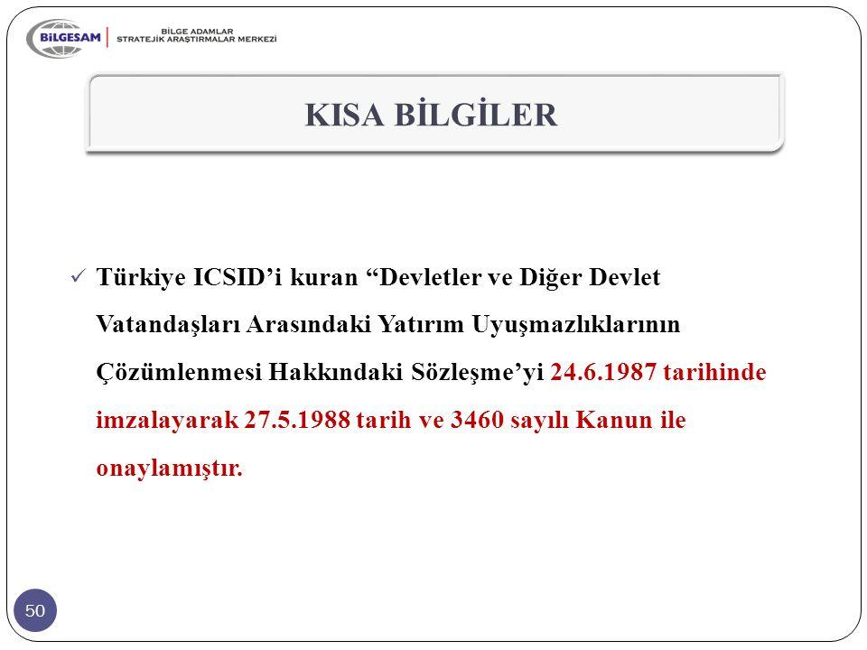 50 KISA BİLGİLER Türkiye ICSID'i kuran Devletler ve Diğer Devlet Vatandaşları Arasındaki Yatırım Uyuşmazlıklarının Çözümlenmesi Hakkındaki Sözleşme'yi 24.6.1987 tarihinde imzalayarak 27.5.1988 tarih ve 3460 sayılı Kanun ile onaylamıştır.