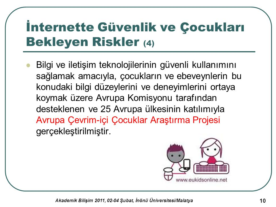 Akademik Bilişim 2011, 02-04 Şubat, İnönü Üniversitesi/Malatya 10 İnternette Güvenlik ve Çocukları Bekleyen Riskler (4) Bilgi ve iletişim teknolojiler