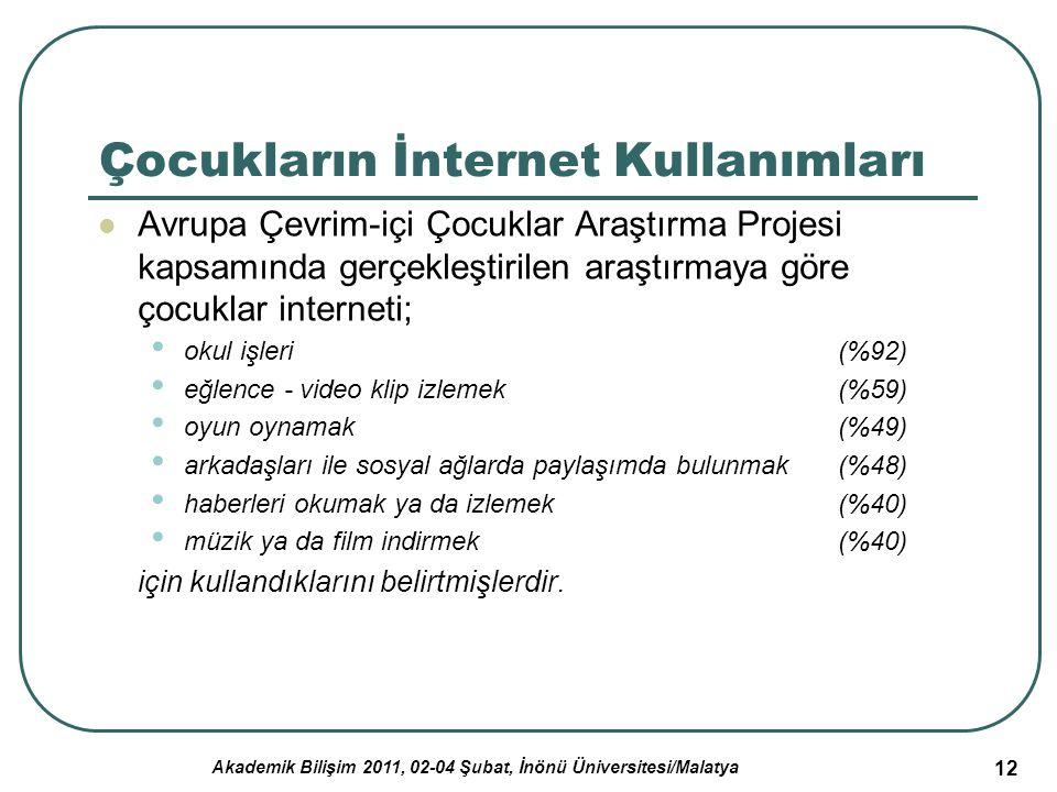 Akademik Bilişim 2011, 02-04 Şubat, İnönü Üniversitesi/Malatya 12 Çocukların İnternet Kullanımları Avrupa Çevrim-içi Çocuklar Araştırma Projesi kapsam