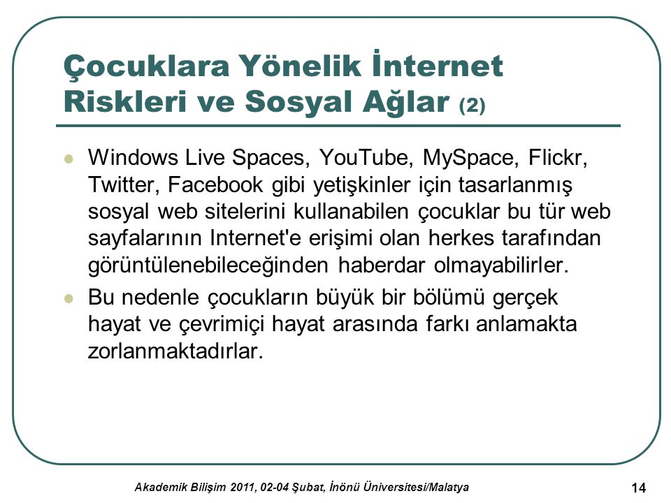 Akademik Bilişim 2011, 02-04 Şubat, İnönü Üniversitesi/Malatya 14 Çocuklara Yönelik İnternet Riskleri ve Sosyal Ağlar (2) Windows Live Spaces, YouTube