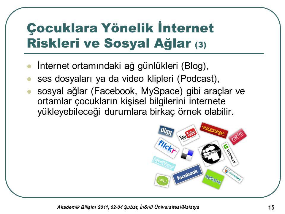 Akademik Bilişim 2011, 02-04 Şubat, İnönü Üniversitesi/Malatya 15 Çocuklara Yönelik İnternet Riskleri ve Sosyal Ağlar (3) İnternet ortamındaki ağ günl