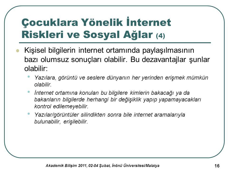Akademik Bilişim 2011, 02-04 Şubat, İnönü Üniversitesi/Malatya 16 Çocuklara Yönelik İnternet Riskleri ve Sosyal Ağlar (4) Kişisel bilgilerin internet