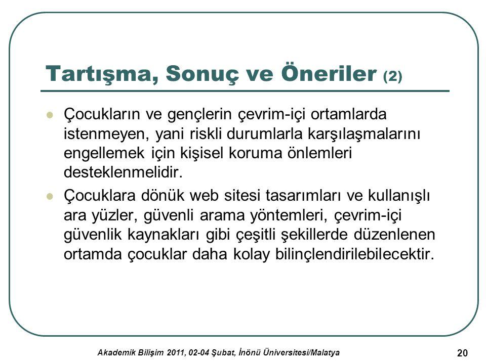 Akademik Bilişim 2011, 02-04 Şubat, İnönü Üniversitesi/Malatya 20 Tartışma, Sonuç ve Öneriler (2) Çocukların ve gençlerin çevrim-içi ortamlarda istenm
