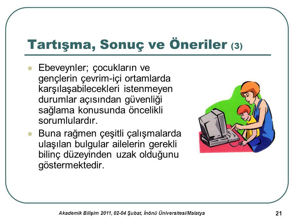 Akademik Bilişim 2011, 02-04 Şubat, İnönü Üniversitesi/Malatya 21 Tartışma, Sonuç ve Öneriler (3) Ebeveynler; çocukların ve gençlerin çevrim-içi ortam