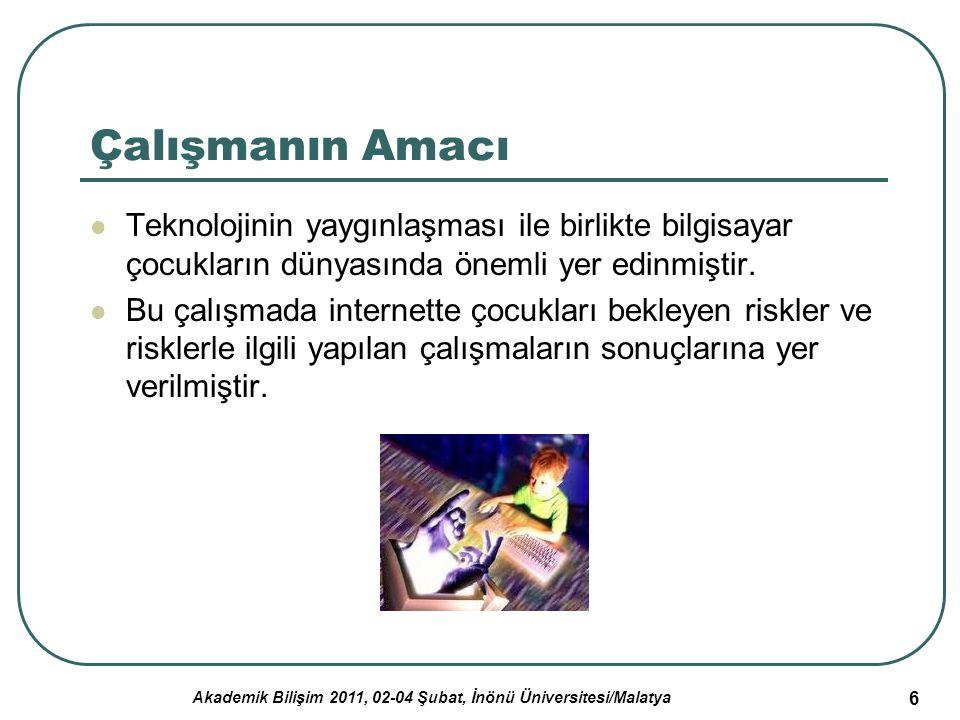 Akademik Bilişim 2011, 02-04 Şubat, İnönü Üniversitesi/Malatya 6 Çalışmanın Amacı Teknolojinin yaygınlaşması ile birlikte bilgisayar çocukların dünyas
