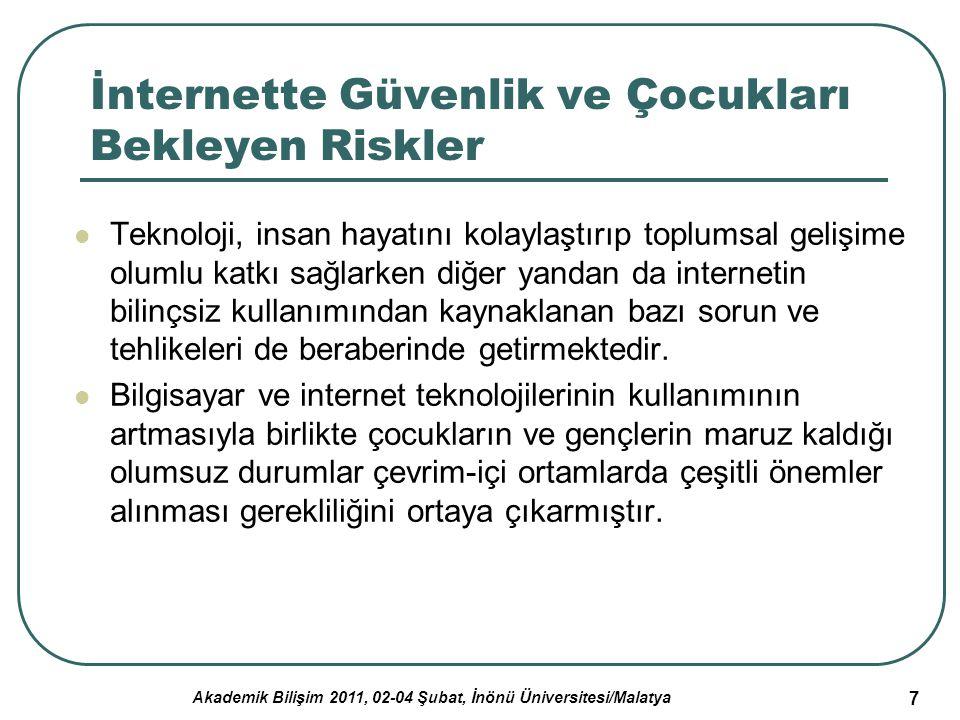 Akademik Bilişim 2011, 02-04 Şubat, İnönü Üniversitesi/Malatya 7 İnternette Güvenlik ve Çocukları Bekleyen Riskler Teknoloji, insan hayatını kolaylaşt