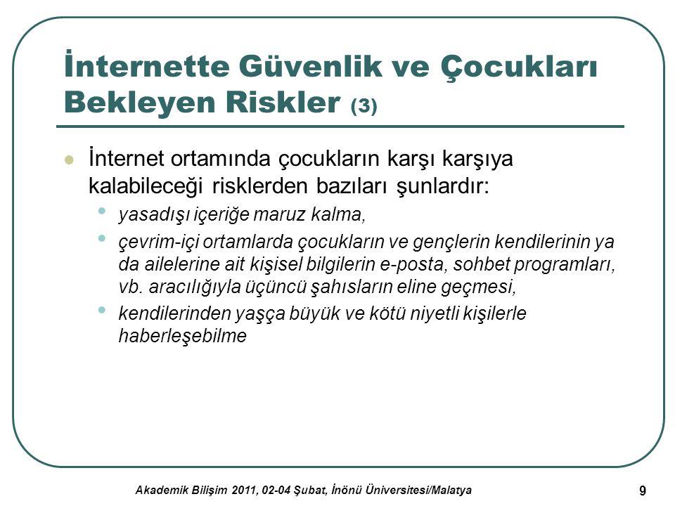 Akademik Bilişim 2011, 02-04 Şubat, İnönü Üniversitesi/Malatya 20 Tartışma, Sonuç ve Öneriler (2) Çocukların ve gençlerin çevrim-içi ortamlarda istenmeyen, yani riskli durumlarla karşılaşmalarını engellemek için kişisel koruma önlemleri desteklenmelidir.