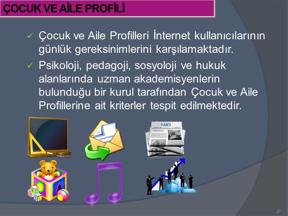 Çocuk ve Aile Profilleri İnternet kullanıcılarının günlük gereksinimlerini karşılamaktadır. Psikoloji, pedagoji, sosyoloji ve hukuk alanlarında uzman