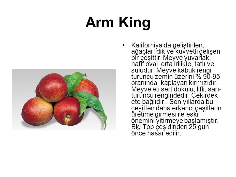 Arm King Kaliforniya da geliştirilen, ağaçları dik ve kuvvetli gelişen bir çeşittir. Meyve yuvarlak, hafif oval, orta irilikte, tatlı ve suludur, Meyv
