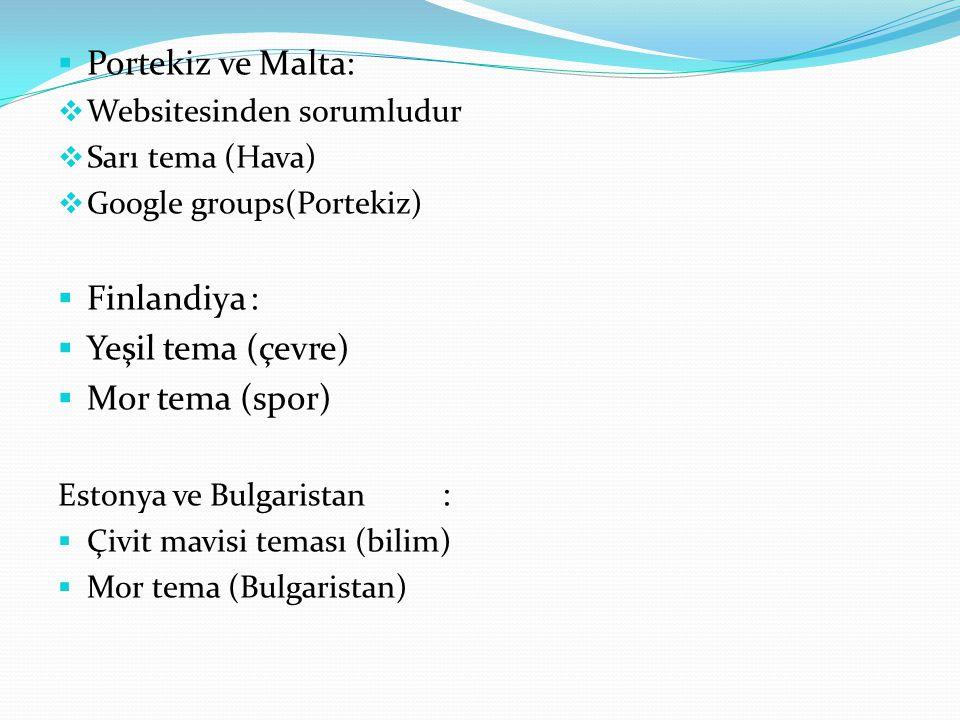  Portekiz ve Malta:  Websitesinden sorumludur  Sarı tema (Hava)  Google groups(Portekiz)  Finlandiya:  Yeşil tema (çevre)  Mor tema (spor) Estonya ve Bulgaristan :  Çivit mavisi teması (bilim)  Mor tema (Bulgaristan)