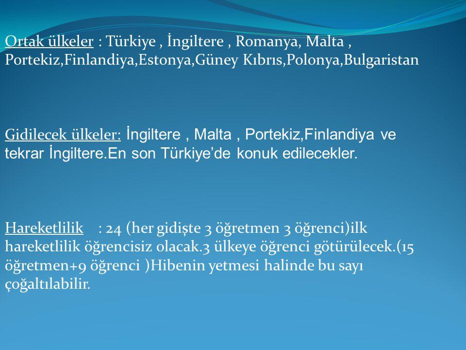 Ortak ülkeler: Türkiye, İngiltere, Romanya, Malta, Portekiz,Finlandiya,Estonya,Güney Kıbrıs,Polonya,Bulgaristan Gidilecek ülkeler: İngiltere, Malta, P