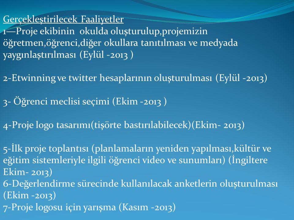 Gerçekleştirilecek Faaliyetler 1—Proje ekibinin okulda oluşturulup,projemizin öğretmen,öğrenci,diğer okullara tanıtılması ve medyada yaygınlaştırılması (Eylül -2013 ) 2-Etwinning ve twitter hesaplarının oluşturulması (Eylül -2013) 3- Öğrenci meclisi seçimi (Ekim -2013 ) 4-Proje logo tasarımı(tişörte bastırılabilecek)(Ekim- 2013) 5-İlk proje toplantısı (planlamaların yeniden yapılması,kültür ve eğitim sistemleriyle ilgili öğrenci video ve sunumları) (İngiltere Ekim- 2013) 6-Değerlendirme sürecinde kullanılacak anketlerin oluşturulması (Ekim -2013) 7-Proje logosu için yarışma (Kasım -2013)