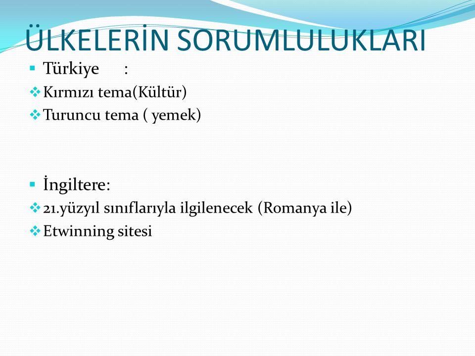 ÜLKELERİN SORUMLULUKLARI  Türkiye:  Kırmızı tema(Kültür)  Turuncu tema ( yemek)  İngiltere:  21.yüzyıl sınıflarıyla ilgilenecek (Romanya ile)  Etwinning sitesi