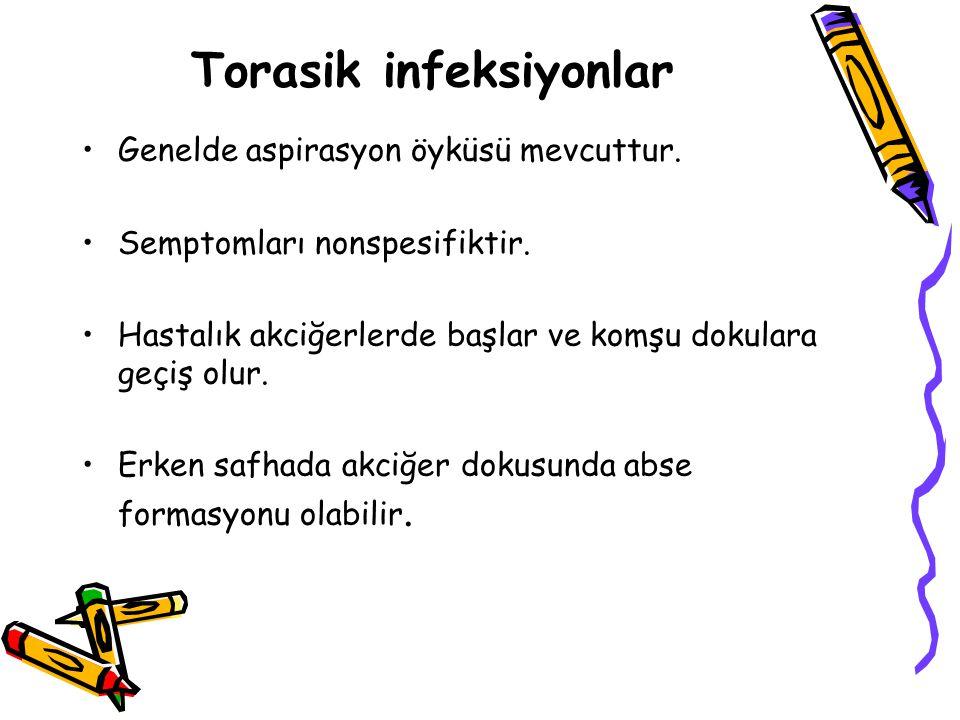 Torasik infeksiyonlar Genelde aspirasyon öyküsü mevcuttur.