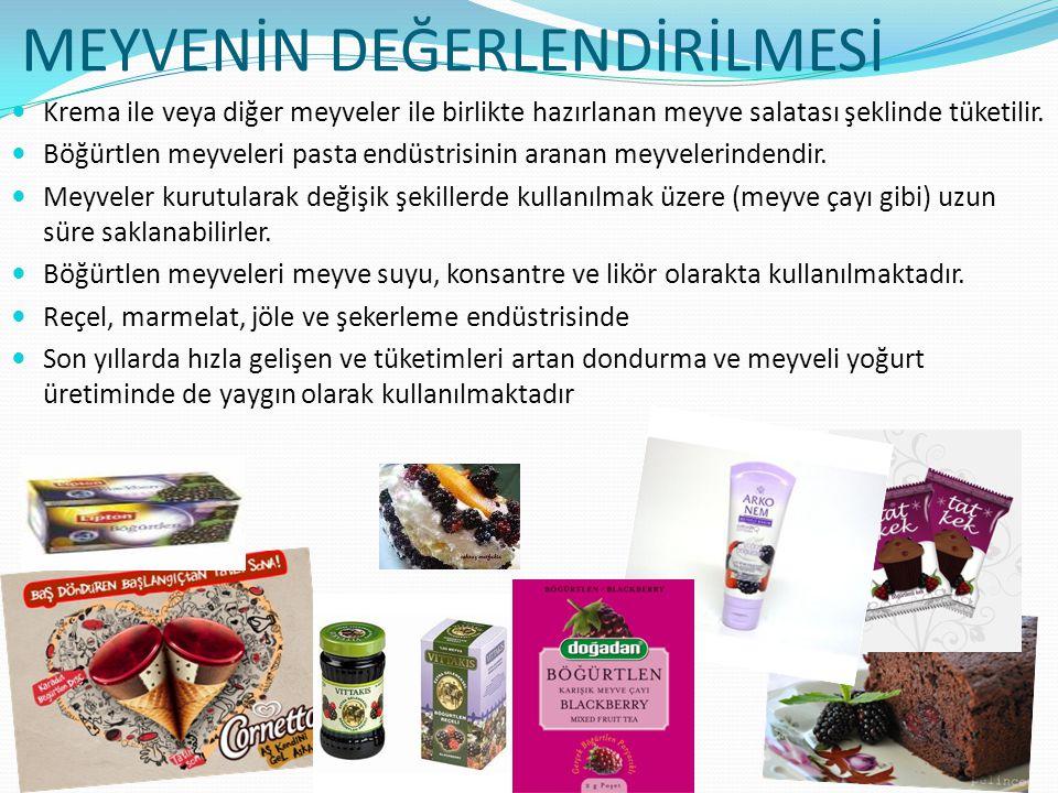 MEYVENİN DEĞERLENDİRİLMESİ Krema ile veya diğer meyveler ile birlikte hazırlanan meyve salatası şeklinde tüketilir. Böğürtlen meyveleri pasta endüstri