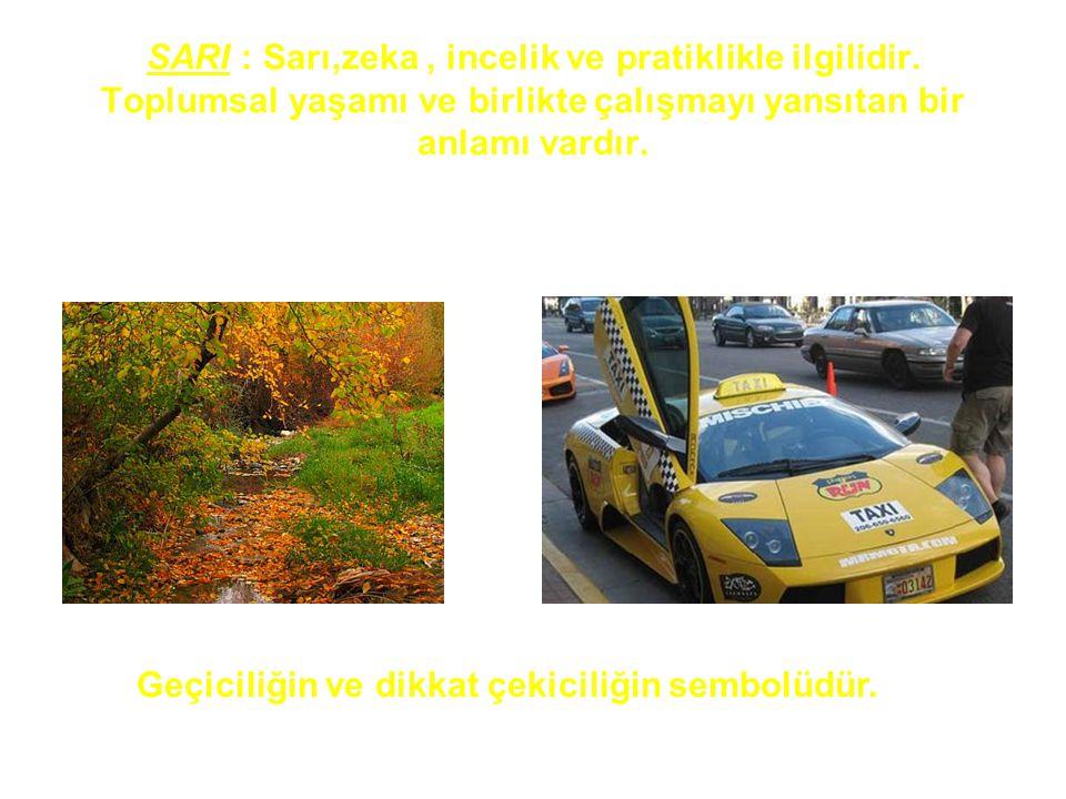 SARI : Sarı,zeka, incelik ve pratiklikle ilgilidir. Toplumsal yaşamı ve birlikte çalışmayı yansıtan bir anlamı vardır. Geçiciliğin ve dikkat çekiciliğ