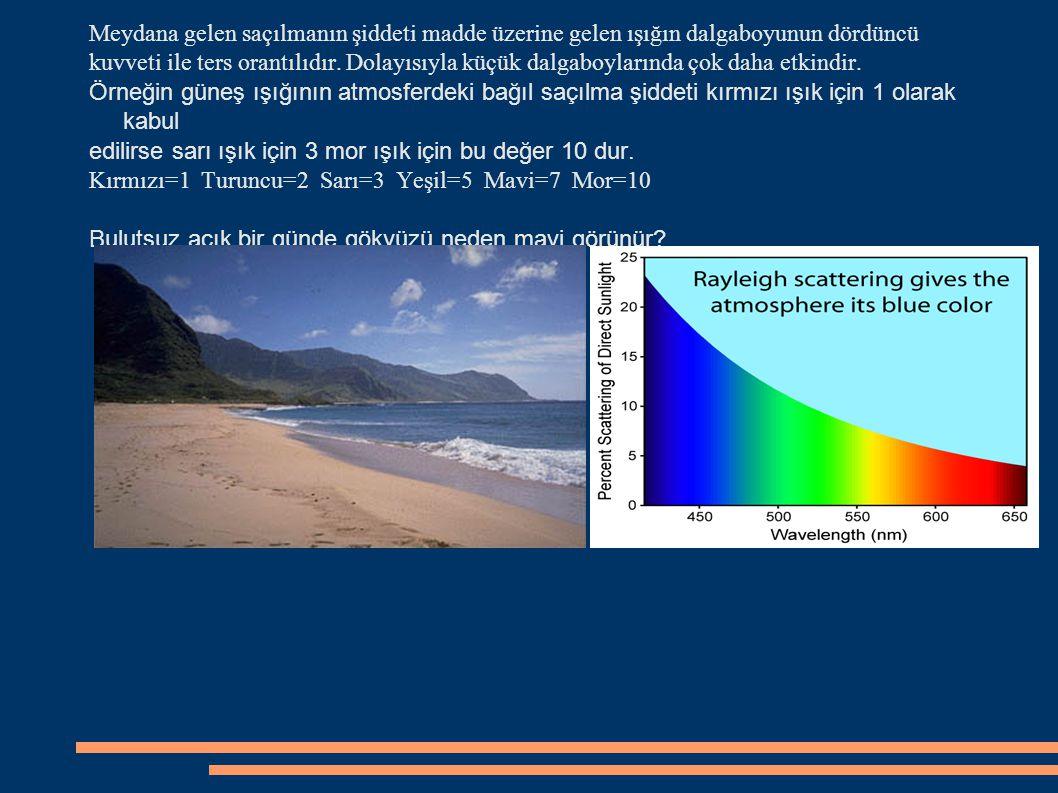 Atmosfere hemen hemen başucundan dik olarak giren güneş ışınları önlerine çıkan molekül veya diğer tanecik sayısı bağıl olarak daha az sayıda olduğundan mor ve mavi renkteki küçük dalgaboylu bileşenleri daha az saçılmaya uğrar.