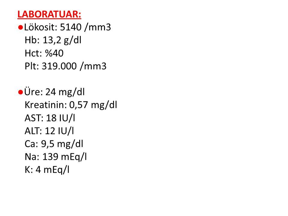LABORATUAR: ●Lökosit: 5140 /mm3 Hb: 13,2 g/dl Hct: %40 Plt: 319.000 /mm3 ●Üre: 24 mg/dl Kreatinin: 0,57 mg/dl AST: 18 IU/l ALT: 12 IU/l Ca: 9,5 mg/dl