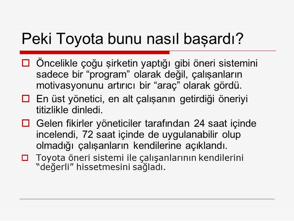 """Peki Toyota bunu nasıl başardı?  Öncelikle çoğu şirketin yaptığı gibi öneri sistemini sadece bir """"program"""" olarak değil, çalışanların motivasyonunu a"""