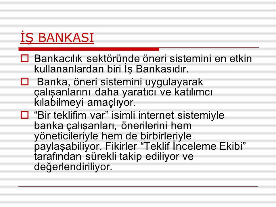 İŞ BANKASI  Bankacılık sektöründe öneri sistemini en etkin kullananlardan biri İş Bankasıdır.  Banka, öneri sistemini uygulayarak çalışanlarını daha