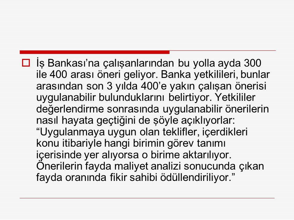  İş Bankası'na çalışanlarından bu yolla ayda 300 ile 400 arası öneri geliyor. Banka yetkilileri, bunlar arasından son 3 yılda 400'e yakın çalışan öne