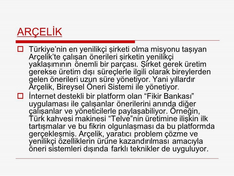 ARÇELİK  Türkiye'nin en yenilikçi şirketi olma misyonu taşıyan Arçelik'te çalışan önerileri şirketin yenilikçi yaklaşımının önemli bir parçası. Şirke