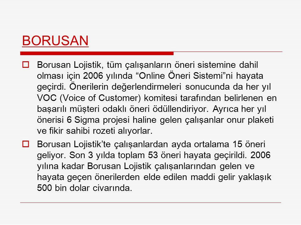 """BORUSAN  Borusan Lojistik, tüm çalışanların öneri sistemine dahil olması için 2006 yılında """"Online Öneri Sistemi""""ni hayata geçirdi. Önerilerin değerl"""