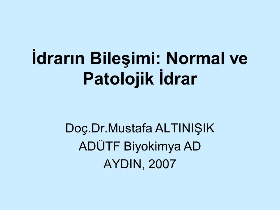 İdrarın Bileşimi: Normal ve Patolojik İdrar Doç.Dr.Mustafa ALTINIŞIK ADÜTF Biyokimya AD AYDIN, 2007