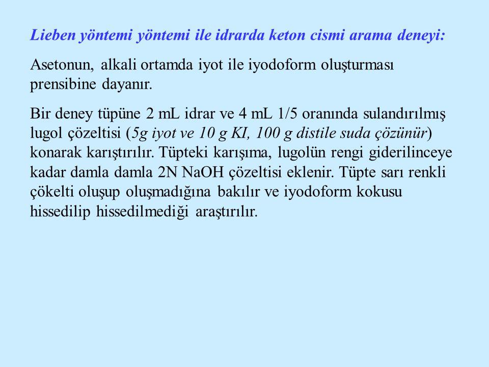 Lieben yöntemi yöntemi ile idrarda keton cismi arama deneyi: Asetonun, alkali ortamda iyot ile iyodoform oluşturması prensibine dayanır. Bir deney tüp