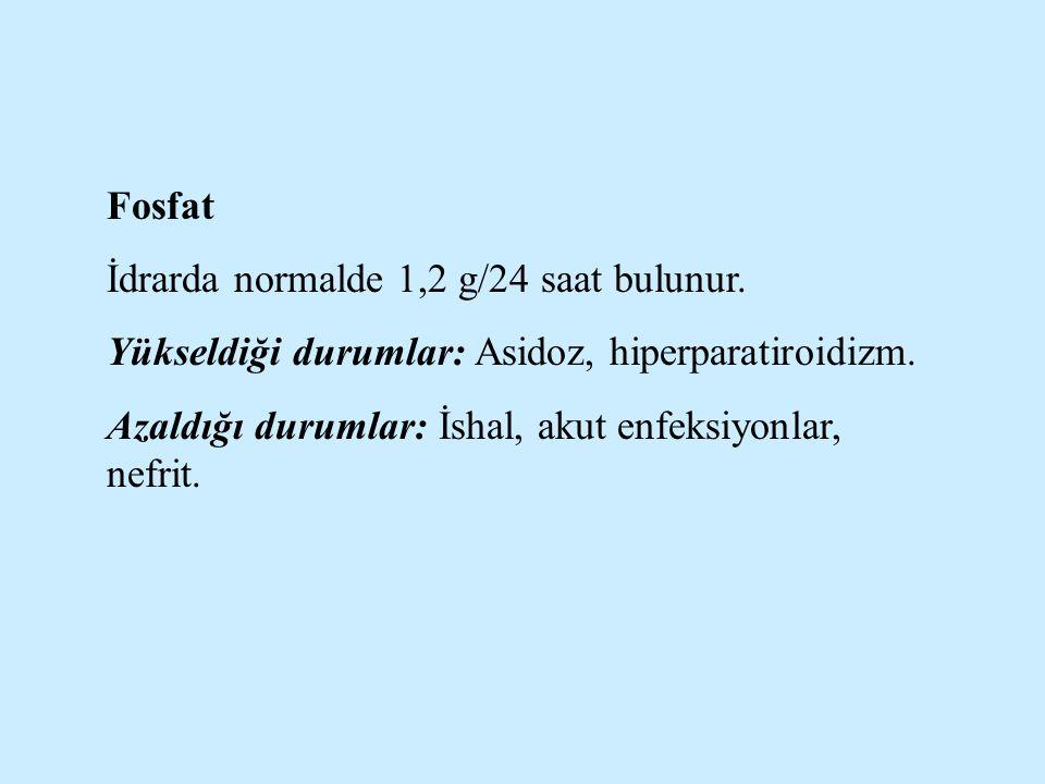 Fosfat İdrarda normalde 1,2 g/24 saat bulunur. Yükseldiği durumlar: Asidoz, hiperparatiroidizm. Azaldığı durumlar: İshal, akut enfeksiyonlar, nefrit.