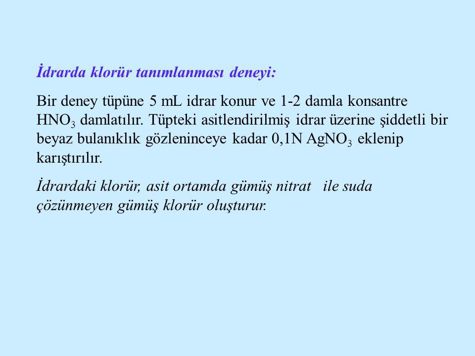 İdrarda klorür tanımlanması deneyi: Bir deney tüpüne 5 mL idrar konur ve 1-2 damla konsantre HNO 3 damlatılır. Tüpteki asitlendirilmiş idrar üzerine ş
