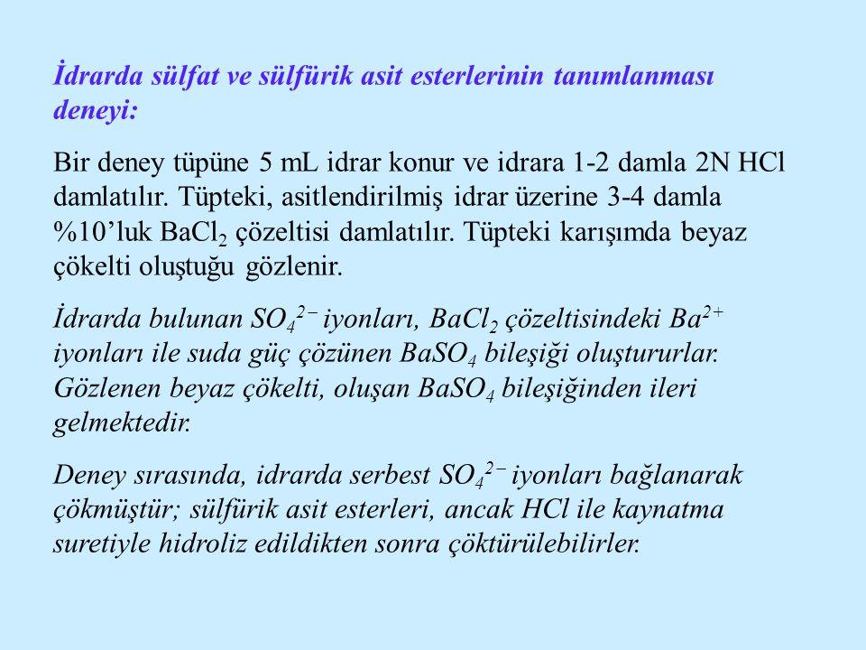 İdrarda sülfat ve sülfürik asit esterlerinin tanımlanması deneyi: Bir deney tüpüne 5 mL idrar konur ve idrara 1-2 damla 2N HCl damlatılır. Tüpteki, as