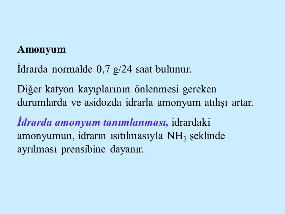 Amonyum İdrarda normalde 0,7 g/24 saat bulunur. Diğer katyon kayıplarının önlenmesi gereken durumlarda ve asidozda idrarla amonyum atılışı artar. İdra