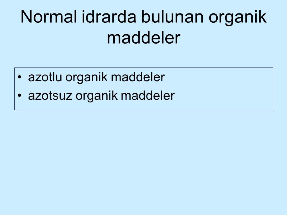 Normal idrarda bulunan organik maddeler azotlu organik maddeler azotsuz organik maddeler