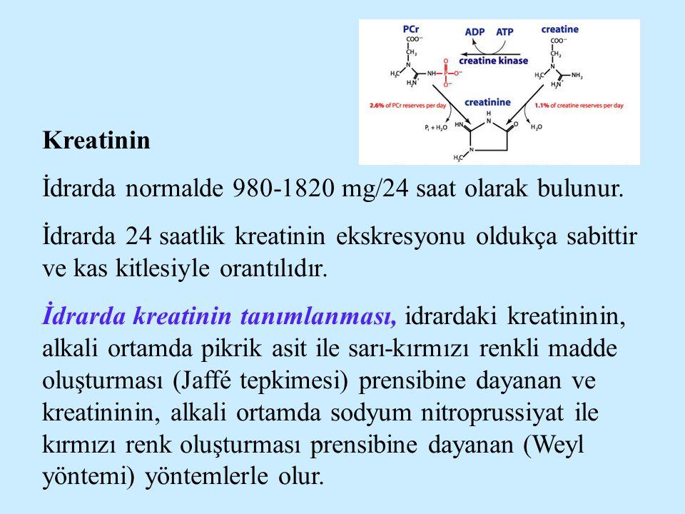 Kreatinin İdrarda normalde 980-1820 mg/24 saat olarak bulunur. İdrarda 24 saatlik kreatinin ekskresyonu oldukça sabittir ve kas kitlesiyle orantılıdır