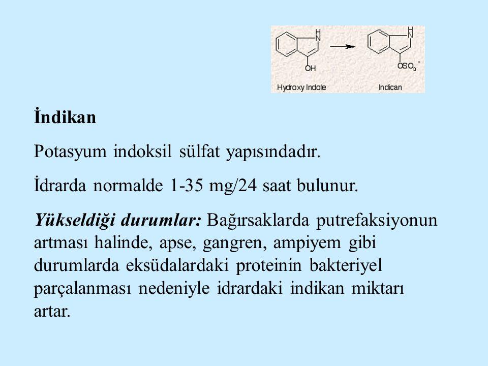 İndikan Potasyum indoksil sülfat yapısındadır. İdrarda normalde 1-35 mg/24 saat bulunur. Yükseldiği durumlar: Bağırsaklarda putrefaksiyonun artması ha