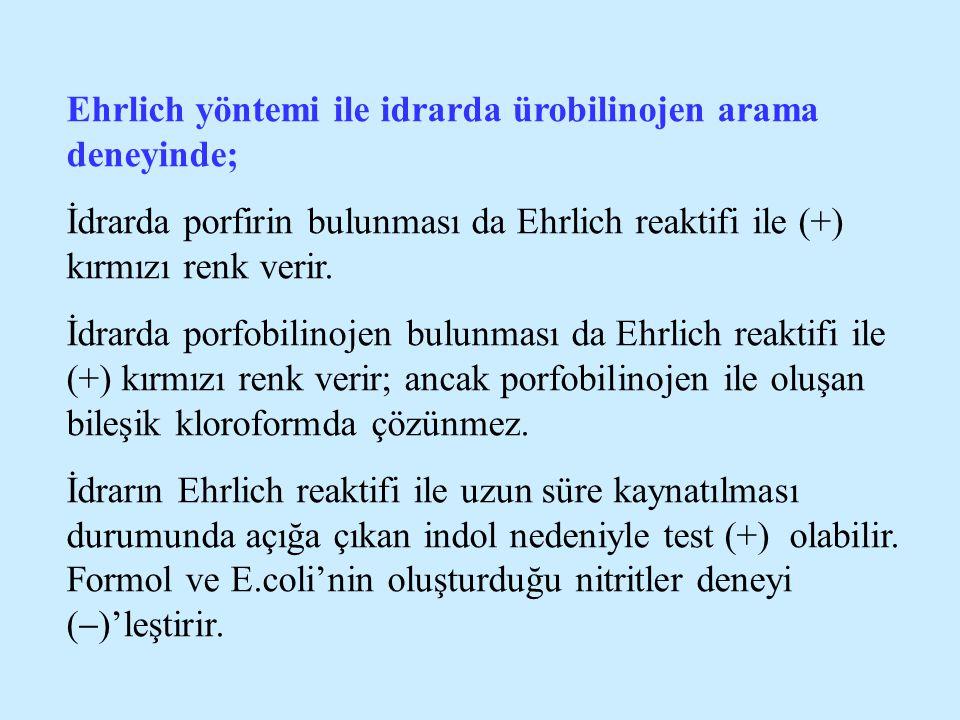 Ehrlich yöntemi ile idrarda ürobilinojen arama deneyinde; İdrarda porfirin bulunması da Ehrlich reaktifi ile (+) kırmızı renk verir. İdrarda porfobili
