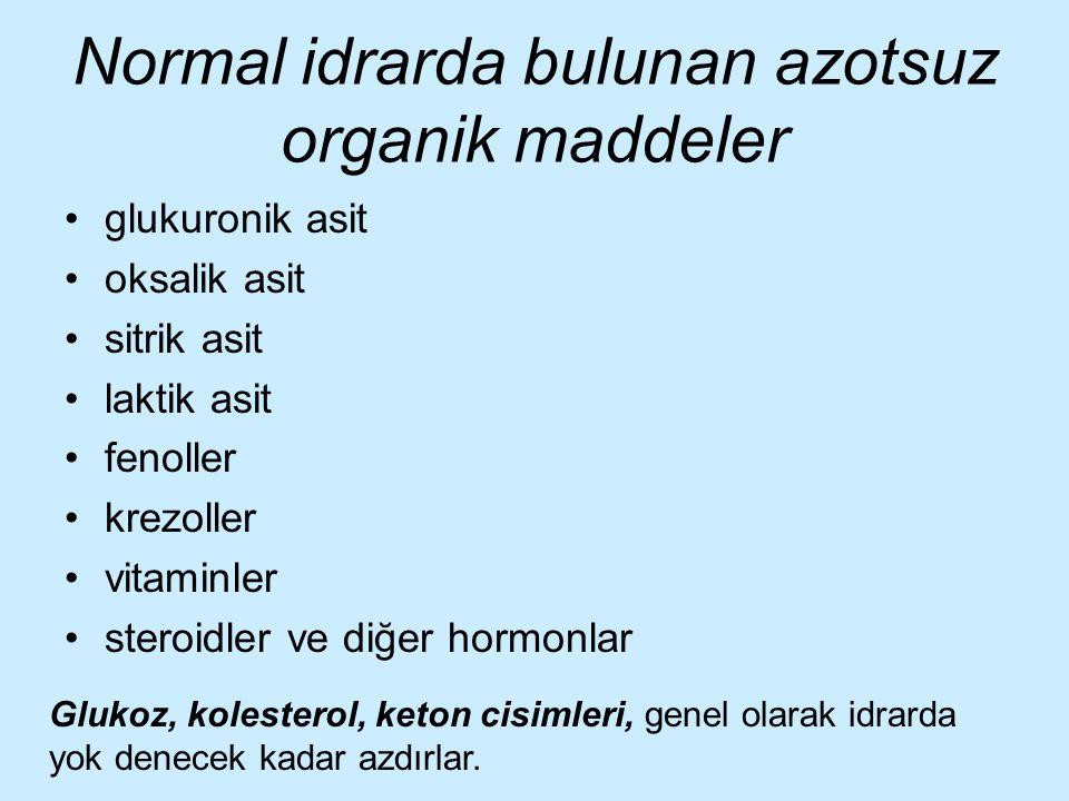 Normal idrarda bulunan azotsuz organik maddeler glukuronik asit oksalik asit sitrik asit laktik asit fenoller krezoller vitaminler steroidler ve diğer
